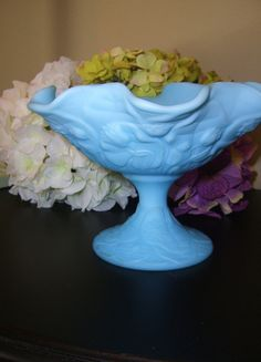 "Large Vintage Fenton Tulip Design Satin Blue Milk Glass Compote-5.5"""