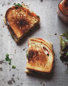 a Better Happier St. Sebastian    Romesco Grilled Cheese with Gruyere + Watercress