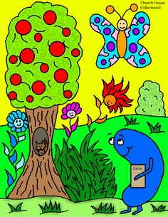 Jelly Bean With Bible Spring Coloring Page For Kids in Sunday School by Church House Collection©