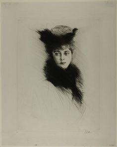 Portrait of Mme. Cheruit Wearing a Fur Collar - Paul César Helleu