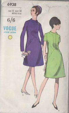Vintage OOP 60s Vogue 6938 A-Line Dress Sewing Pattern