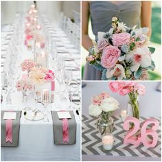 Gray and pink wedding inspiration with chevron accents