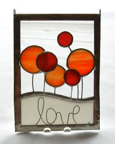 Stained Glass Suncatcher Card: Love Flower Circles - Red and Orange. $25.00, via Etsy.