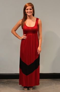 This Garnet Game Day Maxi is incredibly comfortable and not to mention SO cute! The body is garnet and a large black chevron design can be found at the bottom of the skirt! The jersey material is slightly stretchy and feels great! Awesome for game day.