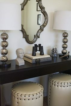 Stools and console table