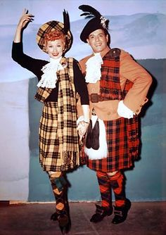 """Lucy and Desi.From """"Lucy Goes to Scotland"""" ~ 1956"""