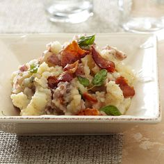 Oregano and crispy bacon add delicious flavor to mashed red potatoes. More holiday side dishes: http://www.bhg.com/thanksgiving/recipes/thanksgiving-side-dishes0/?socsrc=bhgpin122413oreganobaconpotatoes&page=24