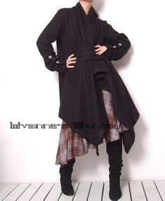 Black Tweed Wool Long Sleeved Fashion Winter Wrap Trench Coat trench coats
