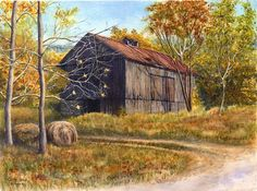 Old Barn, landscape print of an original watercolor painting $20.00