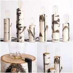 Repurposed wood log lamps #Lamp, #Light, #Log, #Wood