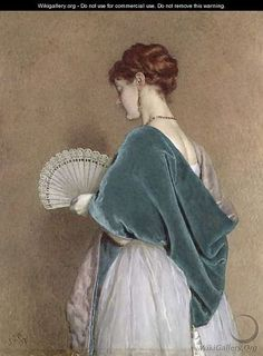 Woman With a Fan, 1871, oil on canvas by James Dawson Watson, British, 1832-1892.