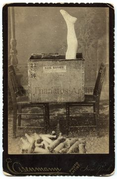 "1890s ~ the oldest contortionist on earth packs himself into a box, 23"" long, 19"" deep, & 16"" wide, and allows any gentleman in the audience to pack 6 dozen soda water bottles into the box after him"