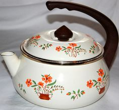 Porcelain Enamel Flower Tea Kettle