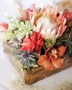 different. ginger, color combos, centerpiec, wood boxes, wooden boxes, exotic flowers, wooden crates, flower boxes, tropical flowers