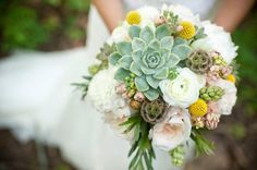craspedia wedding bouquet with succulents