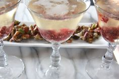Roasted Cranberry Cocktails: maple roasted cranberries with a hint of orange and lots of champagne.