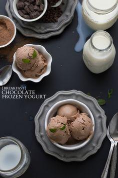 Breakfast Chocolate Frozen Yogurt I via chelseasmessyapron.com I #cleaneating #breakfast #chocolate