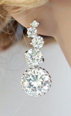 Luxe Cubic Zirconia Bubble Earrings Silver