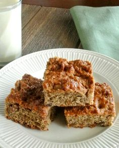 Everybody can have this at the breakfast meal!  Banana Bread Squares moist and ready for breakfast or a snack.