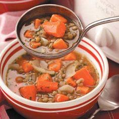 Sweet potato lentil stew - great slow cooker recipe. We made it twice in two weeks