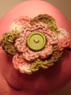 Pink  and Green Crochet Layered Flower in Elastic by toppytoppy, $6.00