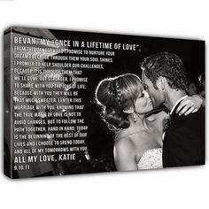 Your Wedding photo on canvas word art on Photograph by Geezees Custom Canvas