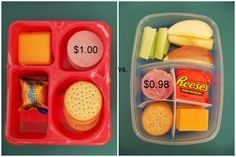 Thrifty way to give children lunchables and other treats in their lunches.