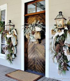 entry holiday, the doors, decorating ideas, christma decor, front doors, wreath, hous, southern live, porch
