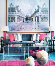 Love the colors of this living room. Blues and Pinks