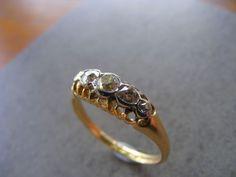 Antique 18 k European Five Old Mine Cut Diamond Anniversary  Ring with Chester, British Hallmarks, 1896.