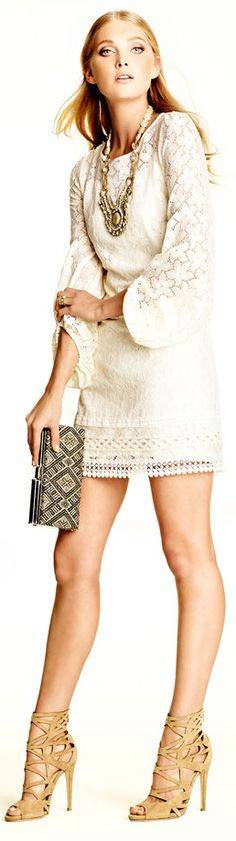 Laundry by Shelli Segal Sand Dollar Lace Shift Dress. Love the shoes too!