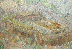 Art using old maps by Matthew Cusick