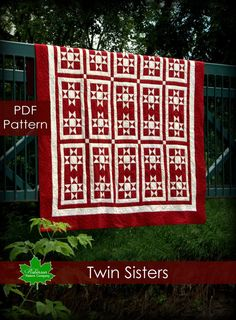 PDF Quilt Pattern - Twin Sisters - twist on a traditional two color Ohio star quilt pattern.