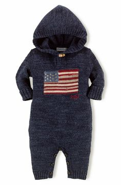 Too cute! Love this navy Ralph Lauren hooded knit romper.
