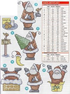 Santa motifs with DMC color key; can be done on cross stitch; many other patterns on this blog!