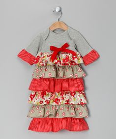 Dessert First Red & Gray Ruffle Gown - Infant