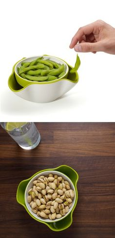 Double Dish - a serving dish stacked on top of a larger collection bowl where you can throw away your unsightly food waste.