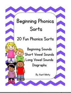Beginning Phonics Sorts for Pre-K-3rd grade by Aunt Minty. Fun cut and past sorts using both pictures and words that help reinforce beginning and ending sounds. Can be purchased at http://www.teacherspayteachers.com/Store/Aunt-Minty