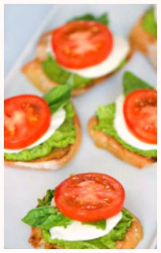 Caprese sandwiches with avocado basil spread #caprese #avocadospread #appetizers #sandwiches #vegetarian