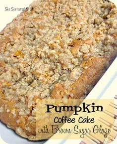 Pumpkin Coffee Cake with Brown Sugar Glaze Recipe from sixsistersstuff.com #recipe #pumpkin #coffeecake