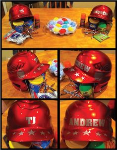 Baseball Helmets decorated with decals from www.DecalJunky.com  This customer used baseball helmets to make a cute, unique Easter basket for her children! #baseball #craft #easter #allstars #creative #unique