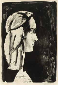 Pablo Picasso (1881 – 1973) - Profile at the black background (Profil au fond noir), 1947