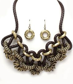 Lia Maria chunky inloops brass brown statement necklace