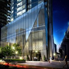 Ten York podium rendering showing landscaping and street level entrance to the the lobby.