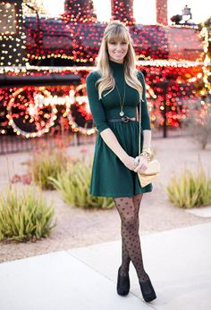 Great winter outfit. I love the girly tights. Easy outfit to recreate from your own closet