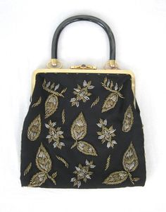 "50s Black Purse Gold & Silver Beaded With Gray Lucite Handle heavy gold and silver leaves all beaded with lucite black handle gold frame. Silky black interior.  10""x10"""