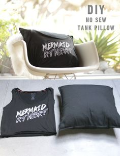 DIY no sew pillow. http://blog.swell.com/DIY-Tank-Pillow