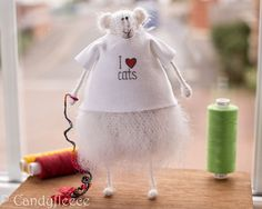 Rat in a T-shirt-Cat Lover--Mohair Knitted Animal/mouse/rat-Whimsical Soft Toy Plush-Fun Home Decoration-White/Creamy Woolly Furry Fluffy-UK
