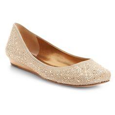 Misha Hidden-Wedge Rhinestone Ballet Flat ($195) ❤ liked on Polyvore