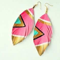 Neon Aztec    Electric Pink  Faux Leather Feather by lovesexton, $24.80